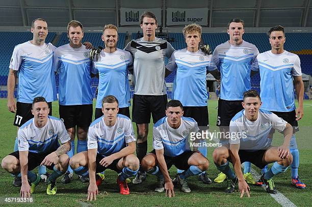 Players of the Sharks pose for a team photo before the FFA Cup Quarter Final match between the Palm Beach Sharks and the Central Coast Mariner at...