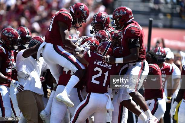 Players of the South Carolina Gamecocks celebrate following a fumble recovery by Rosendo Louis during their game against the Coastal Carolina...