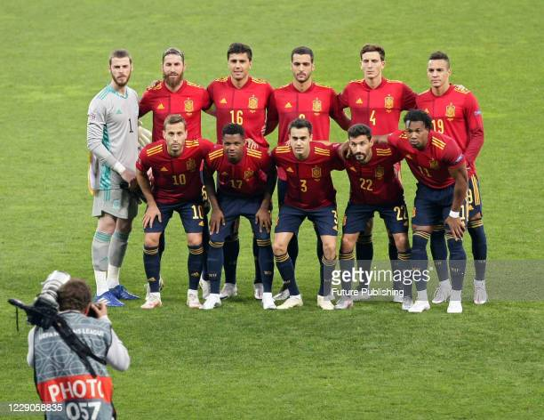Players of the Spain national football team pose for a picture before the UEFA Nations League game against the Ukrainian team at the NSC Olimpiyskyi,...