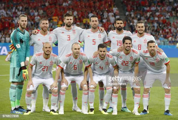 Players of the Spain national team pose for photos before a World Cup group stage match against Portugal at Fisht Stadium in Sochi Russia on June 15...