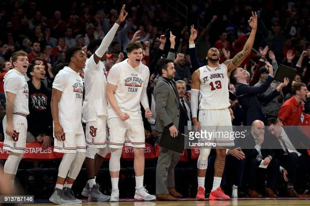 Players of the St John's Red Storm react from their bench during their game against the Duke Blue Devils at Madison Square Garden on February 3 2018...