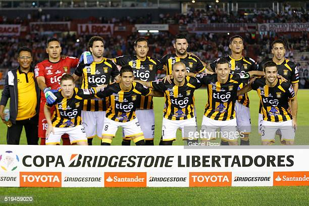 Players of The Strongest pose for a photo prior the match between River Plate and The Strongest as part of Copa Bridgestone Libertadores 2016 at...