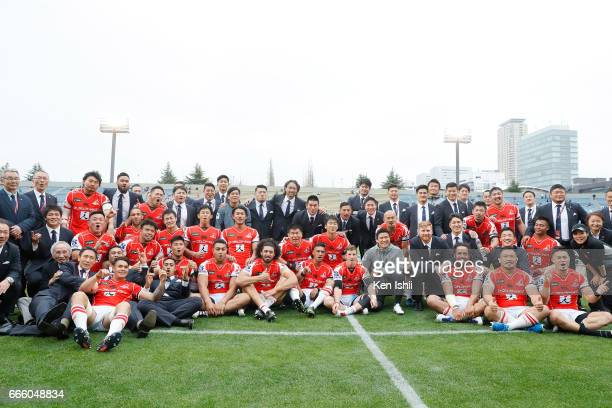 Players of the Sunwolves pose for photos after win against the Bulls during the SUper Rugby Rd 7 match between Sunwolves v Bulls at Prince Chichibu...