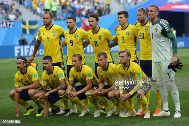 Players of the Sweden national football team during the 2018 FIFA World Cup match Round of 16 between Sweden and Switzerland at Saint Petersburg...