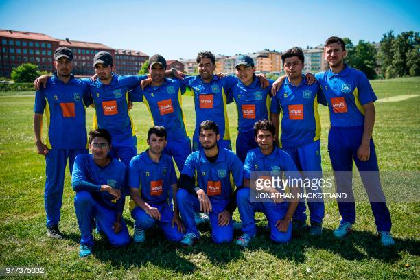 Players of the Swedish national cricket team pose for a picture before a practice match against players of the MCC from London on May 28, 2018 in the...