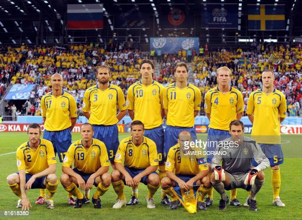 Players of the Swedish team pose before the Euro 2008 Championships Group D football match Russia vs Sweden on June 18 2008 at the Tivoli Neu stadium...