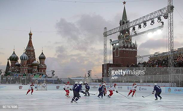 Players of the teams of Jaromir Jagr and Alexey Yashin play during a KHL all star game on the Red square in Moscow on January 10 2008 The game takes...