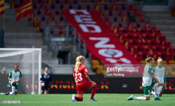Players of the two teams kneeling in respect for Black Lives Matters prior to the Danish Womens Gjensidige Kvindeliga match between FC Nordsjalland...