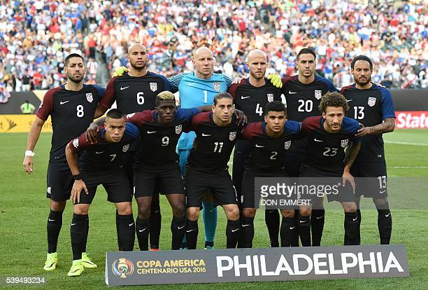 Players of the United States pose for pictures before the start of the Copa America Centenario football tournament match against Paraguay in...