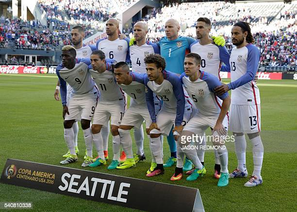 Players of the United States pose for pictures before the start of the Copa America Centenario football tournament quarterfinal match against Ecuador...