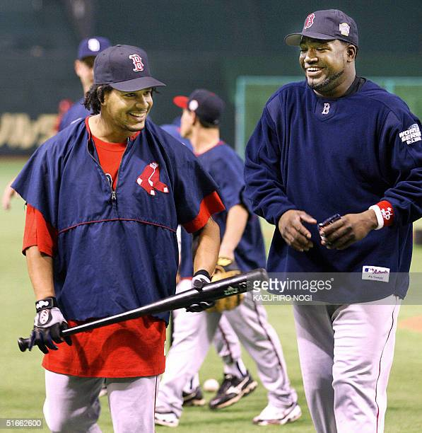 Players of the US Major League Baseball selected team Manny Ramirez and David Ortiz who last month helped the Boston Red Sox win their first World...