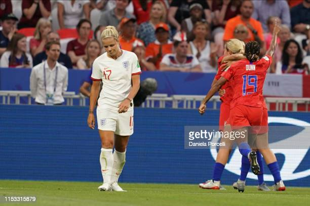 Players of the USA celebrate Christen Press goal during the 2019 FIFA Women's World Cup France Semi Final match between England and USA at Stade de...