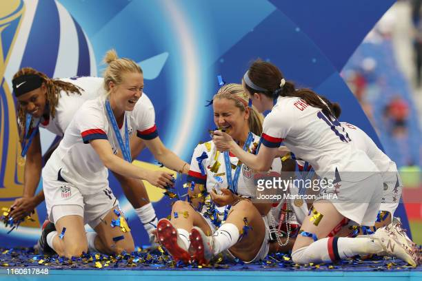Players of the USA celebrate following the 2019 FIFA Women's World Cup France Final match between The United States of America and The Netherlands at...
