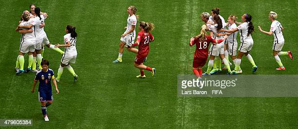 Players of the USA celebrates after winning the FIFA Women's World Cup 2015 Final between USA and Japan at BC Place Stadium on July 5 2015 in...