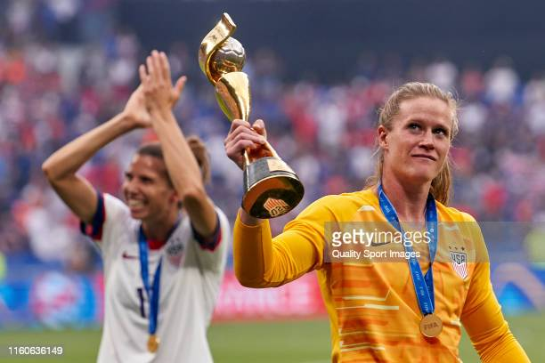Players of the USA celebrates winning the final with trophy after the 2019 FIFA Women's World Cup France Final match between Winner The United States...