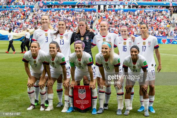 Players of the USA pose for a team photo prior to the 2019 FIFA Women's World Cup France Final match between The United State of America and The...
