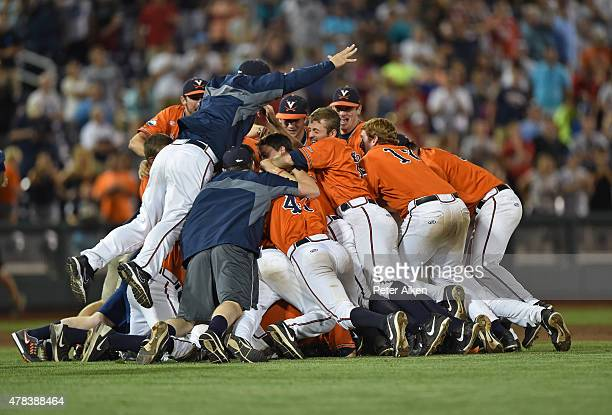Players of the Virginia Cavaliers celebrate after beating the Vanderbilt Commodores 42 to win the National Championship during game three of the...