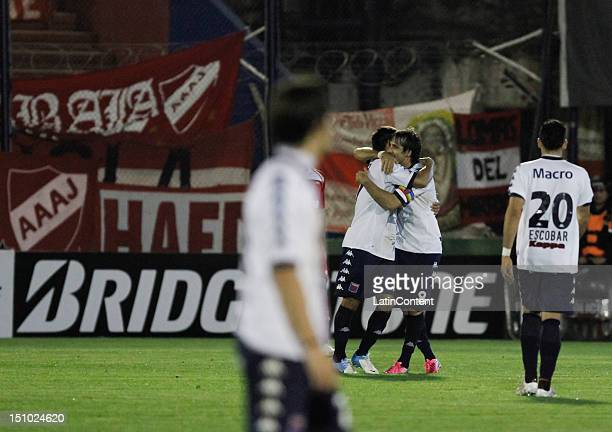 Players of Tigre celebrate a goal during the match between Tigre and Argentinos as part of the second stage of the Copa Sudamericana 2012 at...