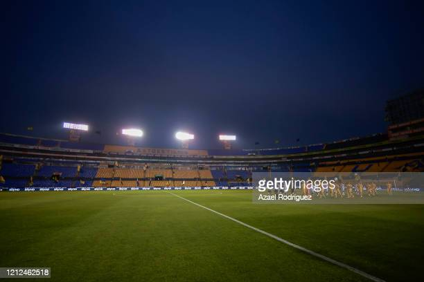 Players of Tigres and Juárez enter the pitch prior to the 10th round match between Tigres UANL and FC Juarez as part of the Torneo Clausura 2020 Liga...