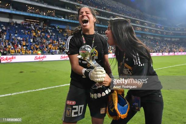 Players of Tigres celebrate after winning the final second leg match between Monterrey and Tigres UANL as part of the Torneo Clausura 2019 Liga MX...