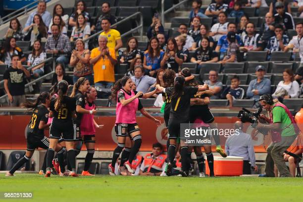 Players of Tigres celebrate during the final second leg match between Monterrey and Tigres UANL as part of the Torneo Clausura 2018 Liga MX Femanil...