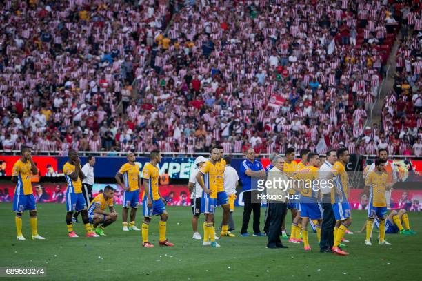 Players of Tigres look dejected after losing the Final second leg match between Chivas and Tigres UANL as part of the Torneo Clausura 2017 Liga MX at...