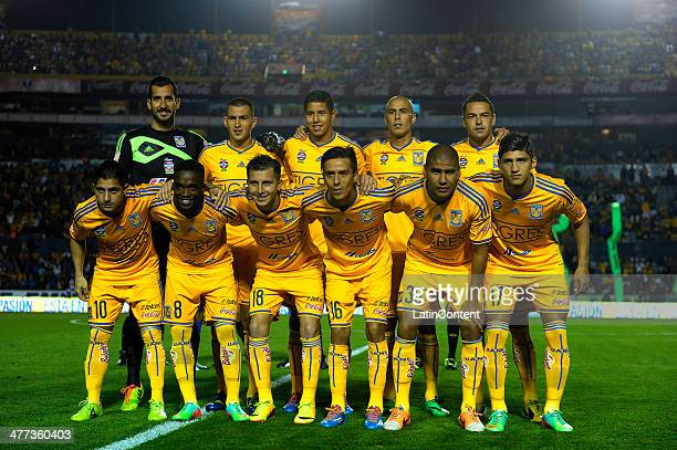 Players of Tigres pose for a photo prior to a match between Tigres UANL and Cruz Azul as part of the 10th round Clausura 2014 Liga MX at...