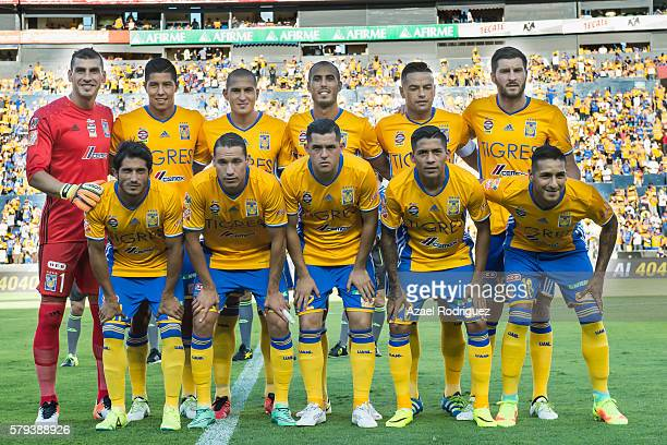 Players of Tigres pose for a team picture prior the 2nd round match between Tigres UANL and Atlas as part of the Torneo Apertura 2016 Liga MX at...