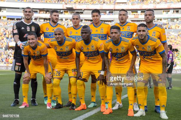 Players of Tigres pose prior the 15th round match between Tigres UANL and Cruz Azul as part of the Torneo Clausura 2018 Liga MX at Universitario...