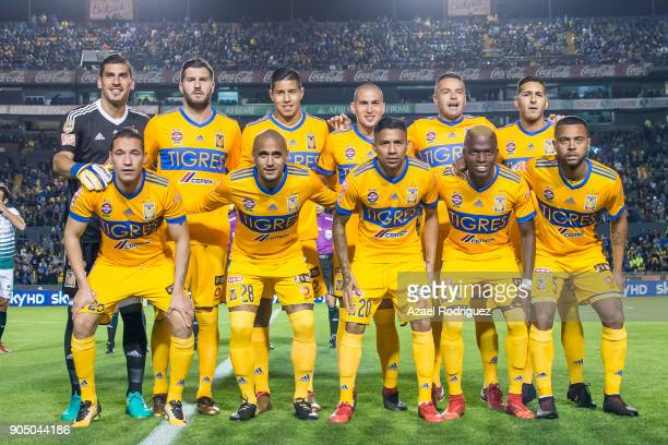 Players of Tigres pose prior the 2nd round match between Tigres UANL and Santos Laguna as part of the Torneo Clausura 2018 Liga MX on January 13 2018...