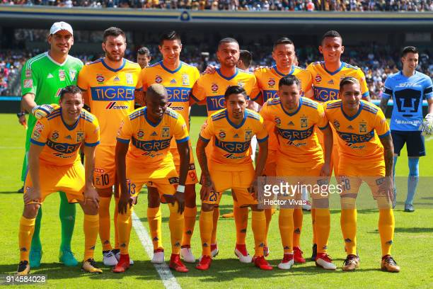 Players of Tigres pose prior the 5th round match between Pumas UNAM and Tigres UANL as part of the Torneo Clausura 2018 Liga MX at Olimpico...