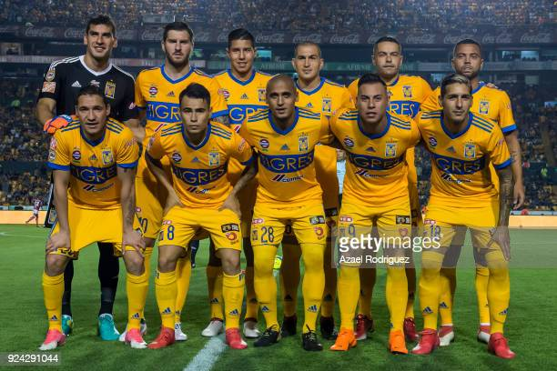 Players of Tigres pose prior the 9th round match between Tigres UANL and Morelia as part of the Torneo Clausura 2018 Liga MX at Universitario Stadium...