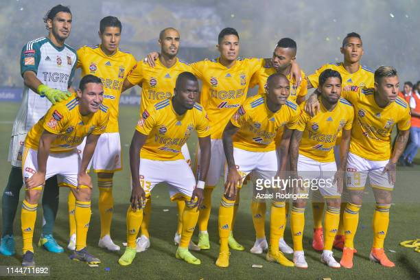 Players of Tigres pose prior the final first leg match between Tigres UANL and Monterrey as part of the CONCACAF Champions League 2019 at...