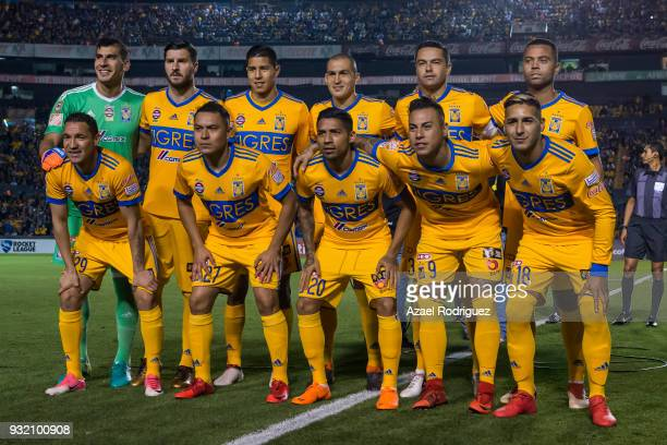 Players of Tigres pose prior the quarterfinals second leg match between Tigres UANL and Toronto FC as part of the CONCACAF Champions League 2018 at...