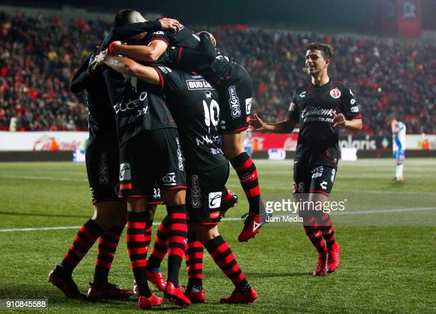 Players of Tijuana celebrate the second goal of their team during the 4th round match between Tijuana and Puebla as part of the Torneo Clausura 2018...