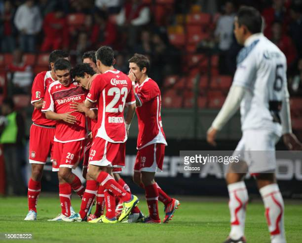 Players of Toluca celebrate a goal during a match between Toluca and Irapuato as part of the Copa MX 2012 at Estadio Nemesio Diez on August 22 2012...