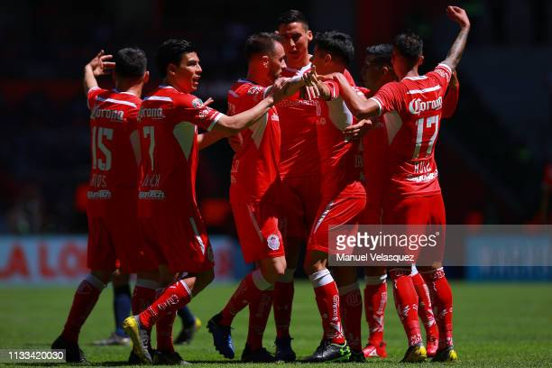 Players of Toluca celebrates the first scored goal by Pablo Barrientos of Toluca during the 9th round match between Toluca and Veracruz as part of...