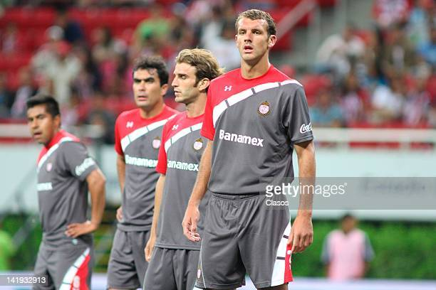 Players of Toluca during a match between Chivas and Toluca as part of the Torneo Clausura 2012 at Omnilife Stadium on March 24, 2012 in Zapopan,...