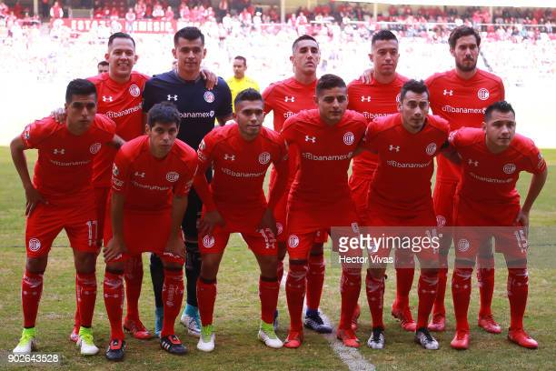 Players of Toluca pose prior the first round match between Toluca and Chivas as part of the Torneo Clausura 2018 Liga MX at Nemesio Diez Stadium on...