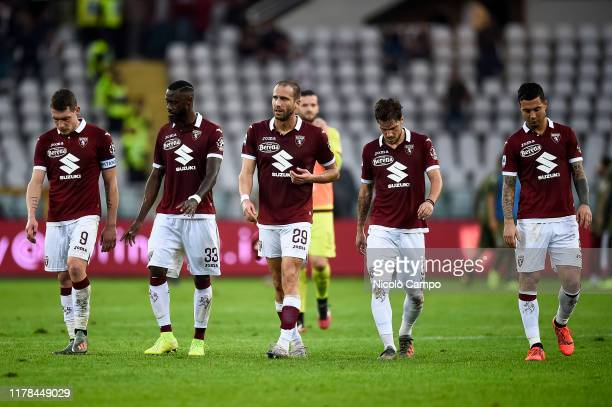 Players of Torino FC are disappointed at the end of the Serie A football match between Torino FC and Cagliari Calcio. The match ended in a 1-1 tie.