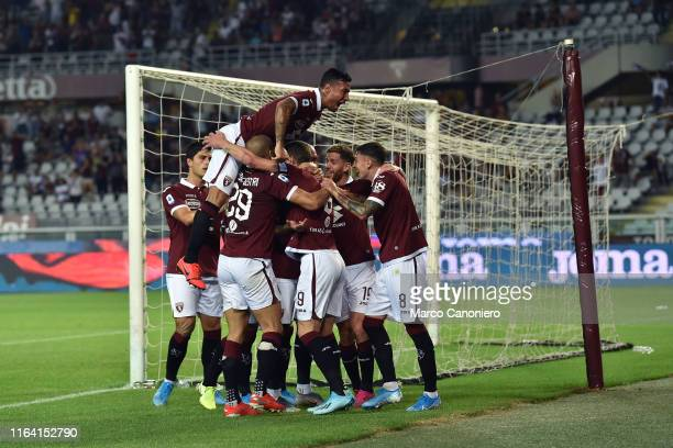 Players of Torino FC celebrate after scoring a goal during the Serie A match between Torino Fc and Us Sassuolo Calcio Torino Fc wins 21 over Us...