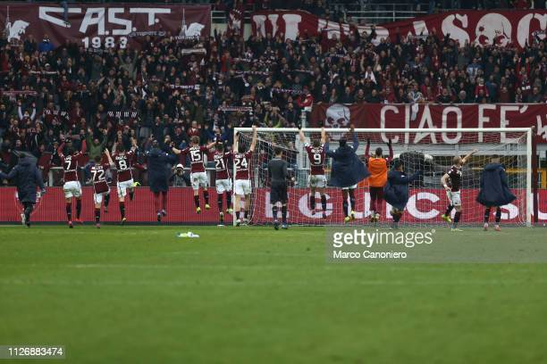 Players of Torino FC celebrate at the end of the Serie A football match between Torino Fc and Atalanta Bergamasca Calcio Torino Fc wins 20 over...