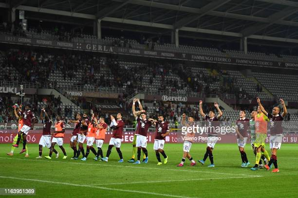 Players of Torino FC celebrate victory at the end of the Serie A match between Torino FC and US Sassuolo at Stadio Olimpico di Torino on August 25,...