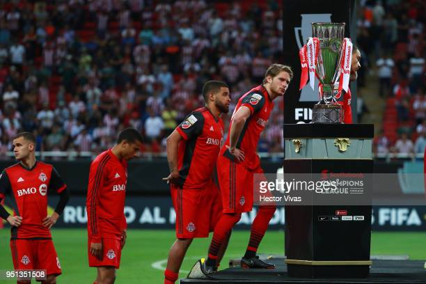 Players of Toronto FC react after the second leg match of the final between Chivas and Toronto FC as part of CONCACAF Champions League 2018 at Akron...