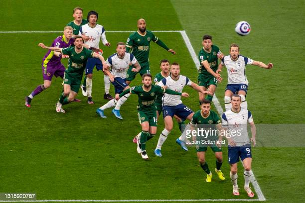 Players of Tottenham Hotspur and Sheffield United compete for the ball from a corner during the Premier League match between Tottenham Hotspur and...