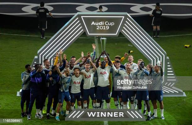Players of Tottenham Hotspur celebrate winning the Audi Cup 2019 final match between Tottenham Hotspur and Bayern Muenchen at Allianz Arena on July...