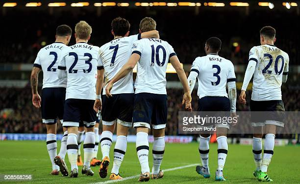 Players of Tottenham Hotspur celebrate with Harry Kane after scoring their second goal during the Barclays Premier League match between Norwich City...