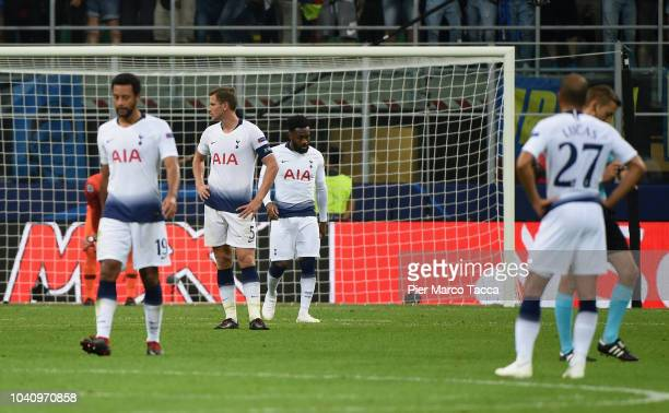 Players of Tottenham Hotspur disappointed after the second goal of the FC Internazionale during the Group B match of the UEFA Champions League...