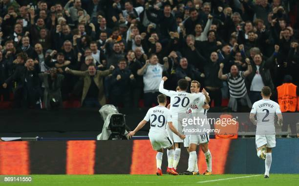 Players of Tottenham Hotspur FC celebrate after scoring a goal during the UEFA Champions League Group H soccer match between Tottenham Hotspur FC and...