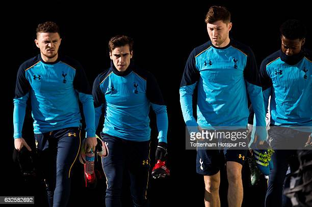 Players of Tottenham Hotspur FC enter the pitch before a training session during day two of the Tottenham Hotspur FC Barcelona Training Camp at...